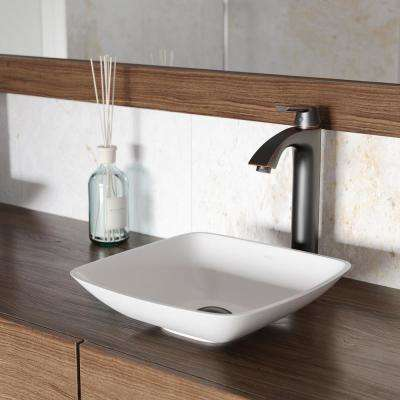 Hyacinth Matte Stone Vessel Sink in White with Linus Vessel Faucet in Antique Rubbed Bronze