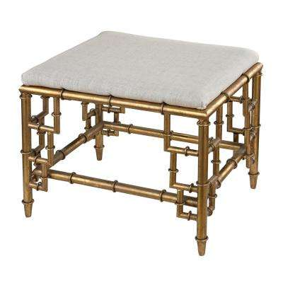Tunbridge Gold Leaf and Cream Linen Ottoman