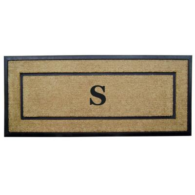 DirtBuster Single Picture Frame Black 24 in. x 57 in. Coir with Rubber Border Monogrammed S Door Mat