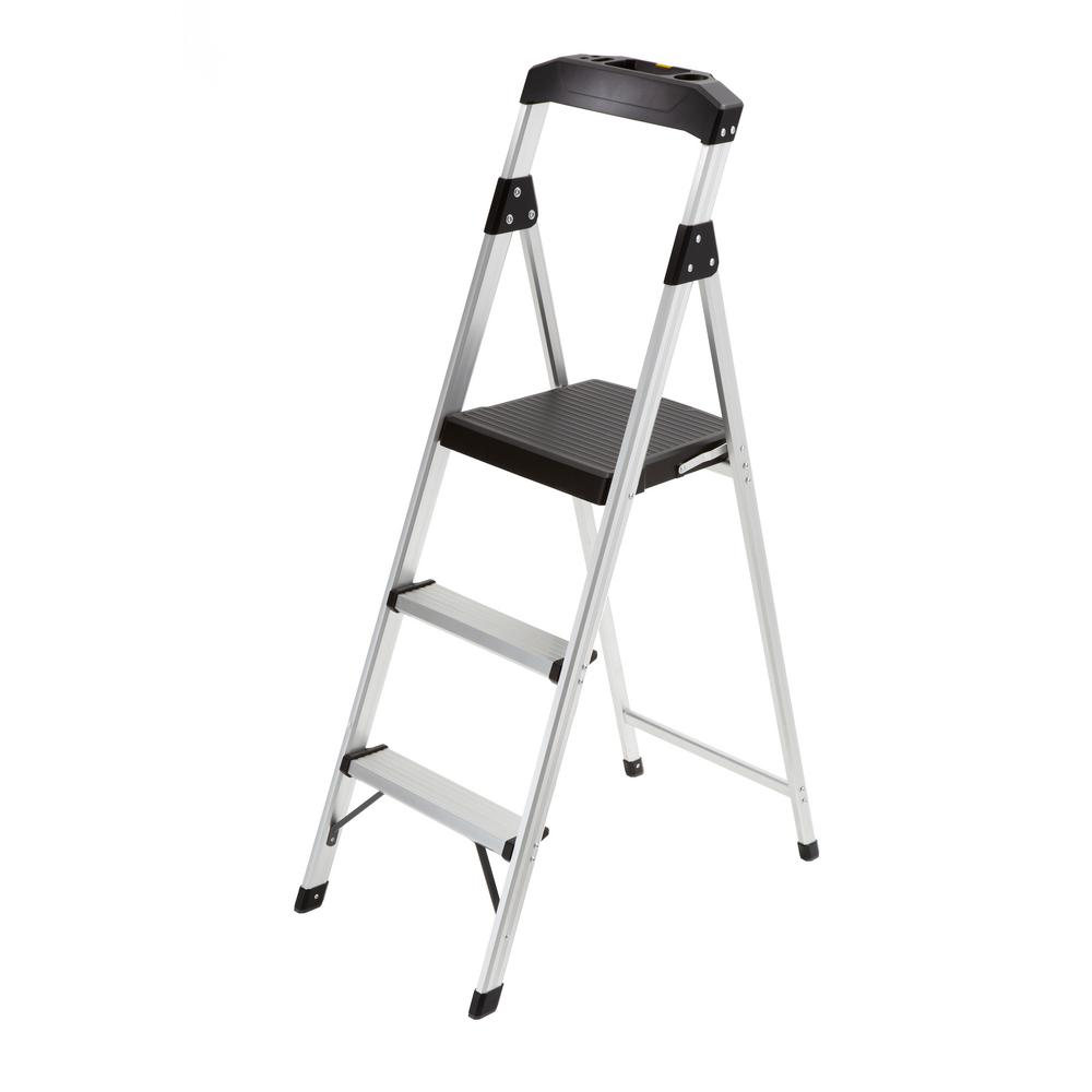 3-Step Aluminum Step Stool Ladder with 225 lb. Type II Duty
