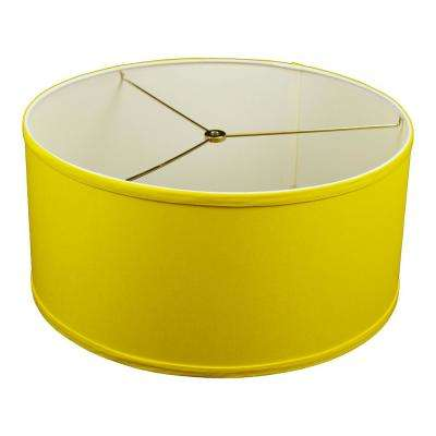 17 in. W x 8 in. H Citrus Yellow/Nickel Hardware Drum Lamp Shade