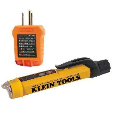 Non-Contact Voltage Tester with Flashlight and Outlet Tester Set (2-Piece)