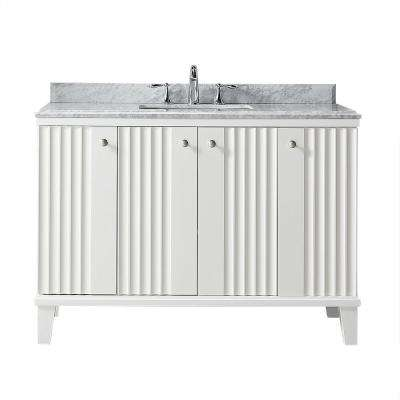 Bathroom Vanities Clearance.Parker 48 In W X 22 In D Vanity In White With Marble Vanity Top In White With White Basin