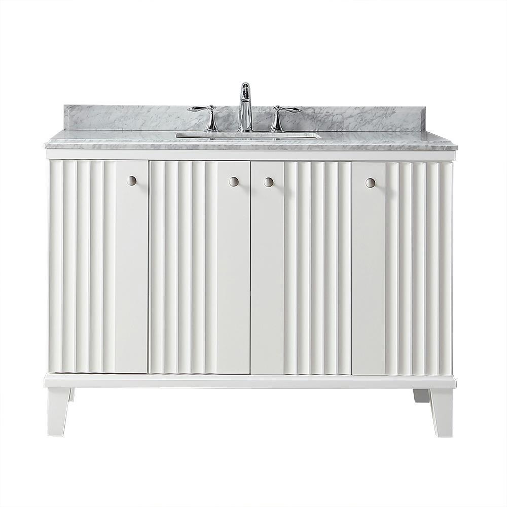 Martha Stewart Living Parker 48 in. W x 22 in. D Vanity in White with Marble Vanity Top in White with White Basin