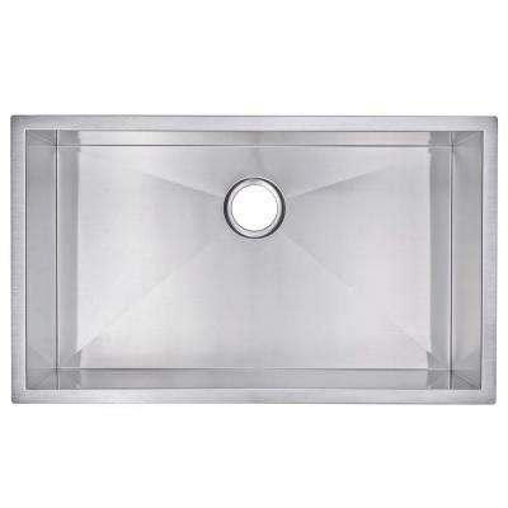 Undermount Zero Radius Stainless Steel 32x19x10 0-Hole Single Bowl Kitchen Sink in Satin Finish