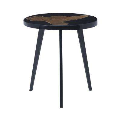 Alemann Black and Teak Woodtone Side Table
