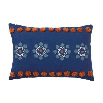 Carlotta 16 in. x 24 in. Floral Blue Pillow Cover