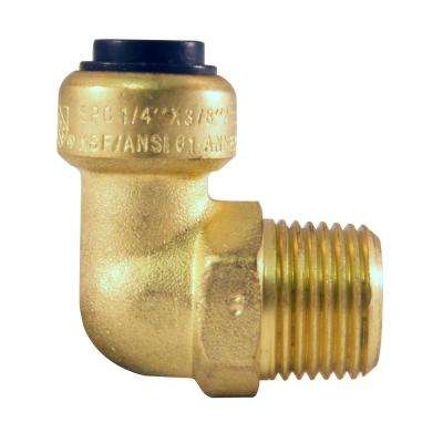 1/4 in. Brass Push-To-Connect x 3/8 in. Male Pipe Thread 90-Degree Elbow