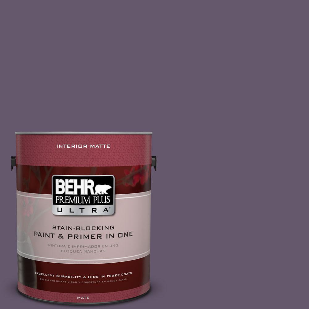 BEHR Premium Plus Ultra 1 gal. #PPU17-4 Darkest Grape Flat/Matte Interior Paint