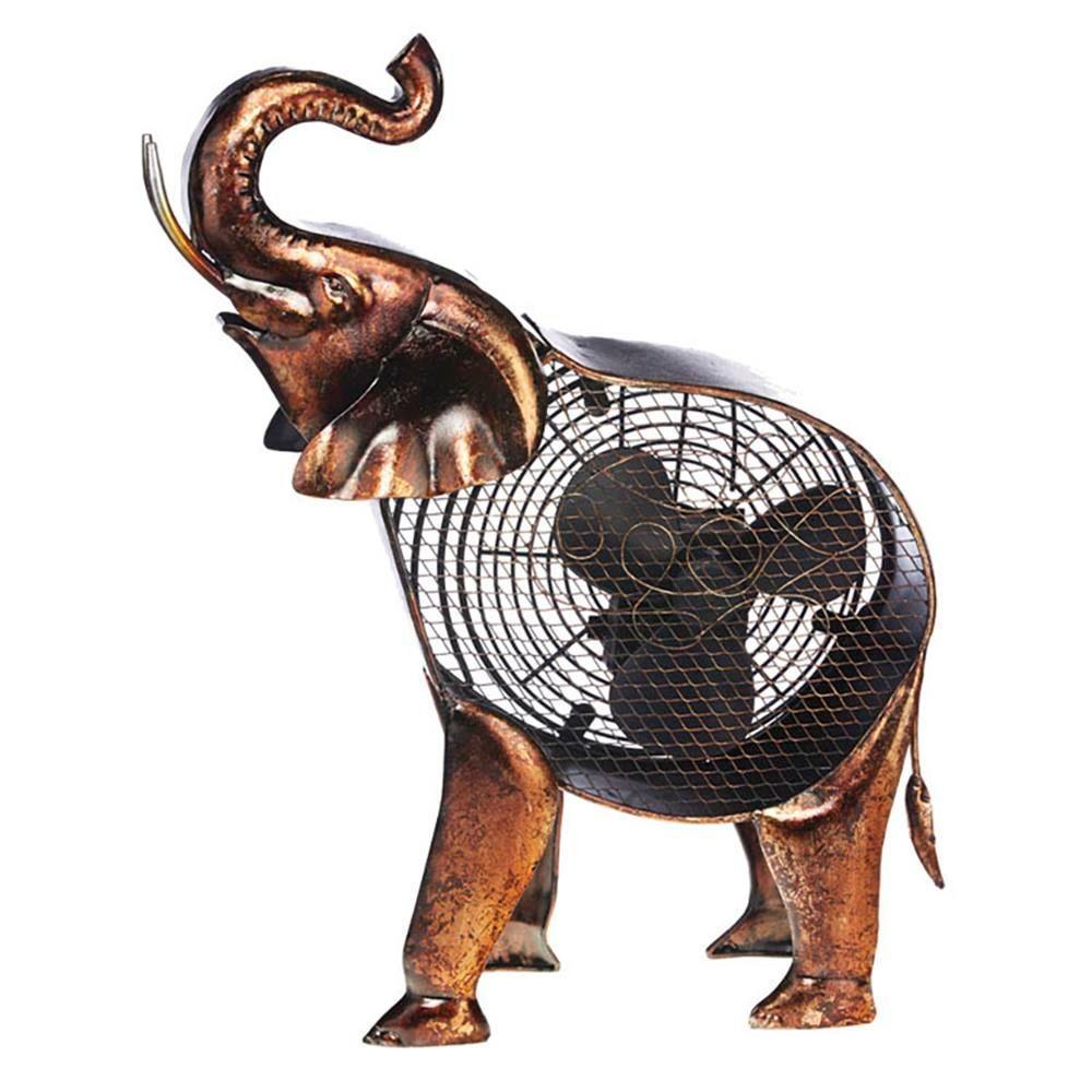 18 in. African Elephant Figurine Fan