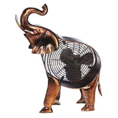 18 in. African Elephant Figurine Fan