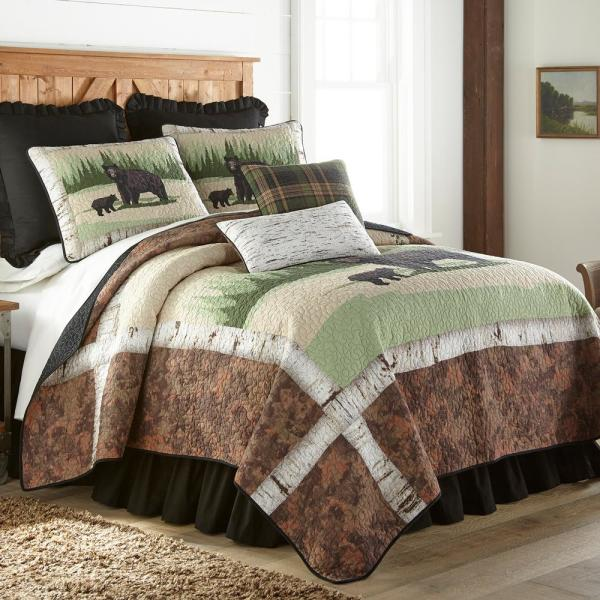 Birch Bear Green Cotton Queen Quilt Set (3-Piece)