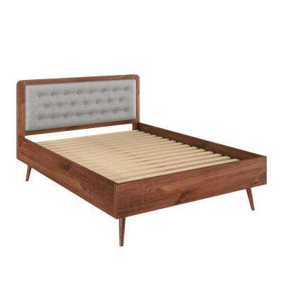 Bedford 62 in. Solid Pine Wood in Varnish and Grey Tufted Queen-Size Bed Frame with Headboard
