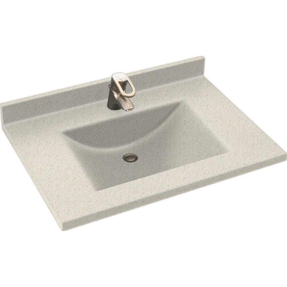 Swanstone Contour 25 in. Solid Surface Vanity Top with Basin in Tahiti Matrix