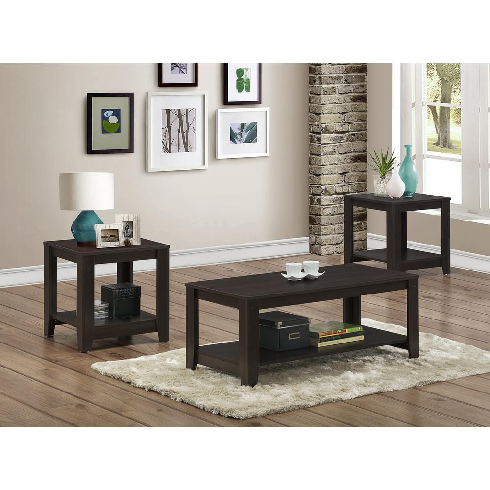 Monarch Specialties Cappuccino 3-Piece Nesting End/Side Table Set-I ...