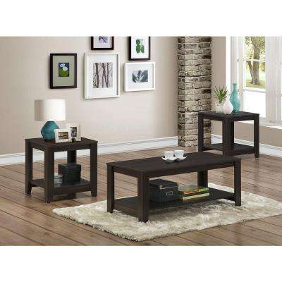 Cappuccino 3-Piece Nesting End/Side Table Set