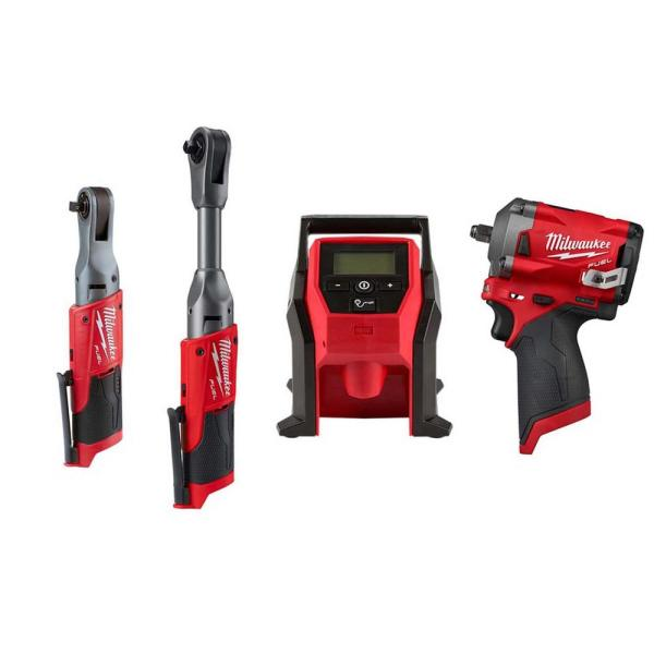 M12 FUEL 12-Volt Lithium-Ion Brushless Cordless 3/8 in. Ratchet and Impact and Inflator Combo Kit (Tool-Only Kit)