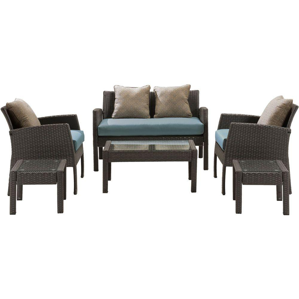 Chelsea 6-Piece Space-Saving All-Weather Wicker Patio Deep Seating Set with