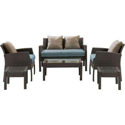 Chelsea 6-Piece Space-Saving All-Weather Wicker Patio Deep Seating Set with Ocean Blue Cushions