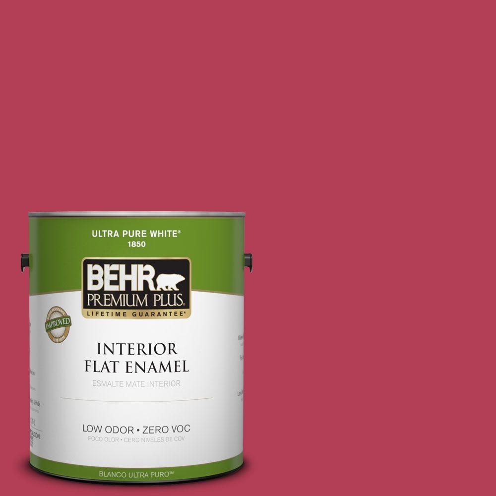 BEHR Premium Plus 1-gal. #130B-7 Cherry Wine Zero VOC Flat Enamel Interior Paint-DISCONTINUED
