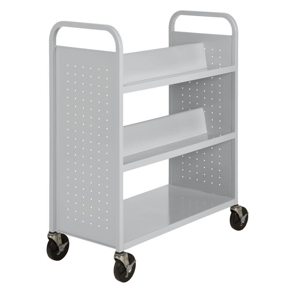 Dove Gray Mobile Steel Bookcase