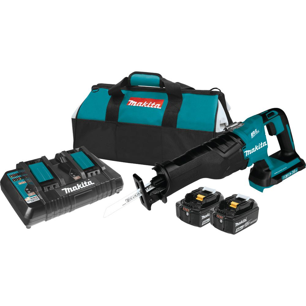 Makita 18-Volt X2 LXT Lithium-Ion (36-Volt) Brushless Cordless Reciprocating Saw Kit (5.0Ah) with 2 Batteries 5.0Ah and Charger