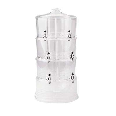 3-Gal. Clear Beverage Dispenser 3-Tier Stackable Drink Holder with Lids