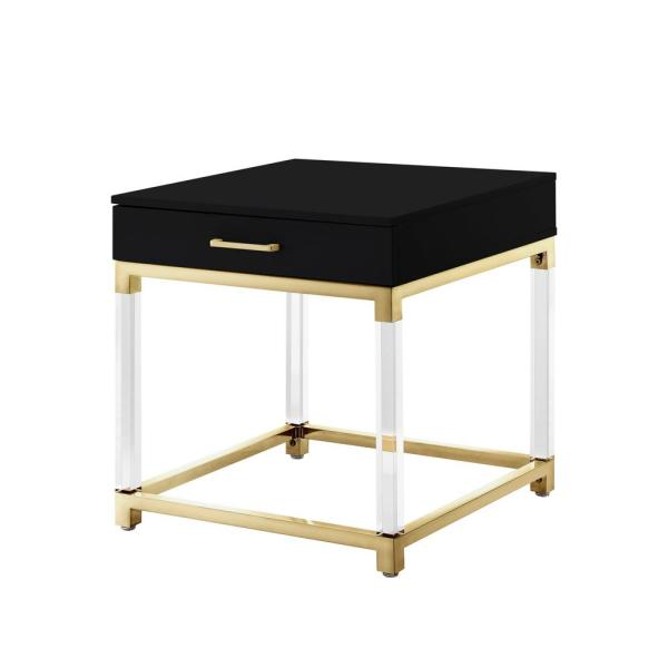 Inspired Home Caspian Black/Gold End Table with High Gloss Finish ET159-09BK-HD