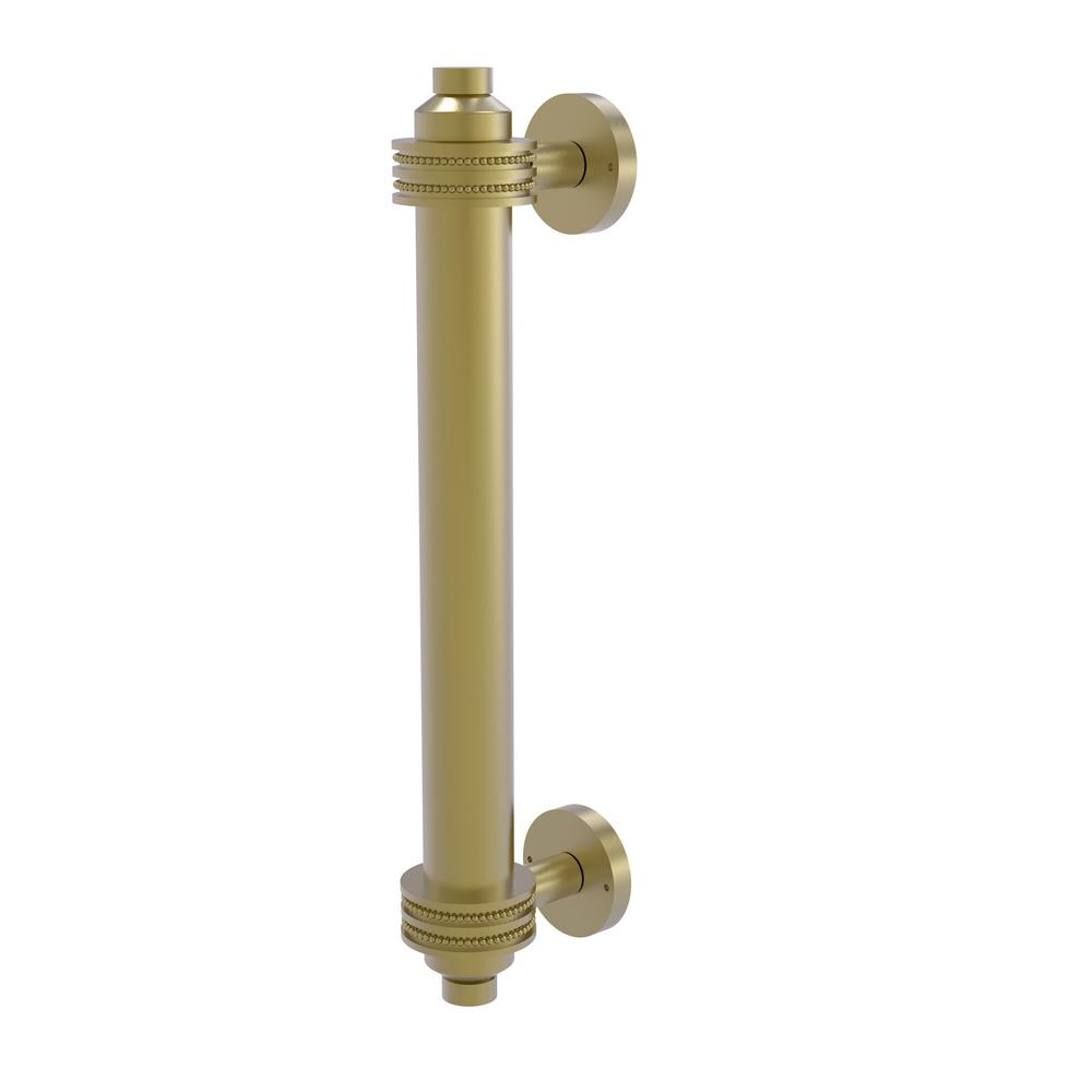 8 in. Door Pull with Dotted Accents in Satin Brass