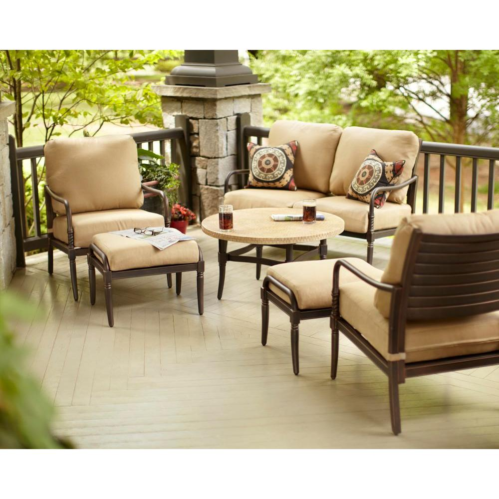 Hampton Bay Madison 4-Piece Patio Deep Seating Set with Textured Golden Wheat Cushions-DISCONTINUED