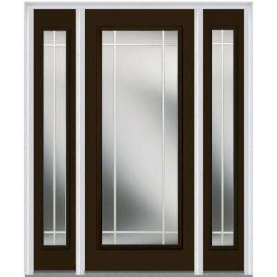 64 in. x 80 in. Internal Grilles Left-Hand Inswing Full Lite Clear Painted Steel Prehung Front Door with Sidelites
