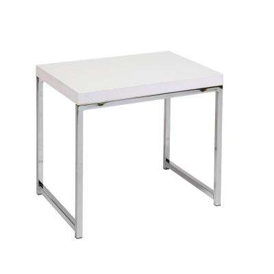 Wall Street White Melamine and Chrome End Table