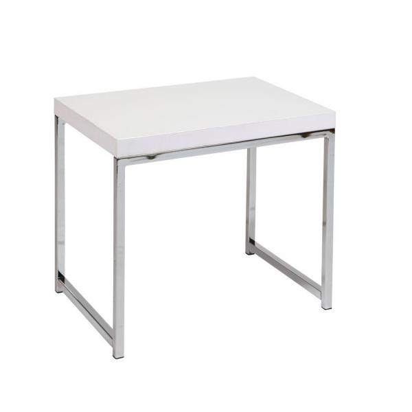OSP Home Furnishings Wall Street White Melamine and Chrome End Table