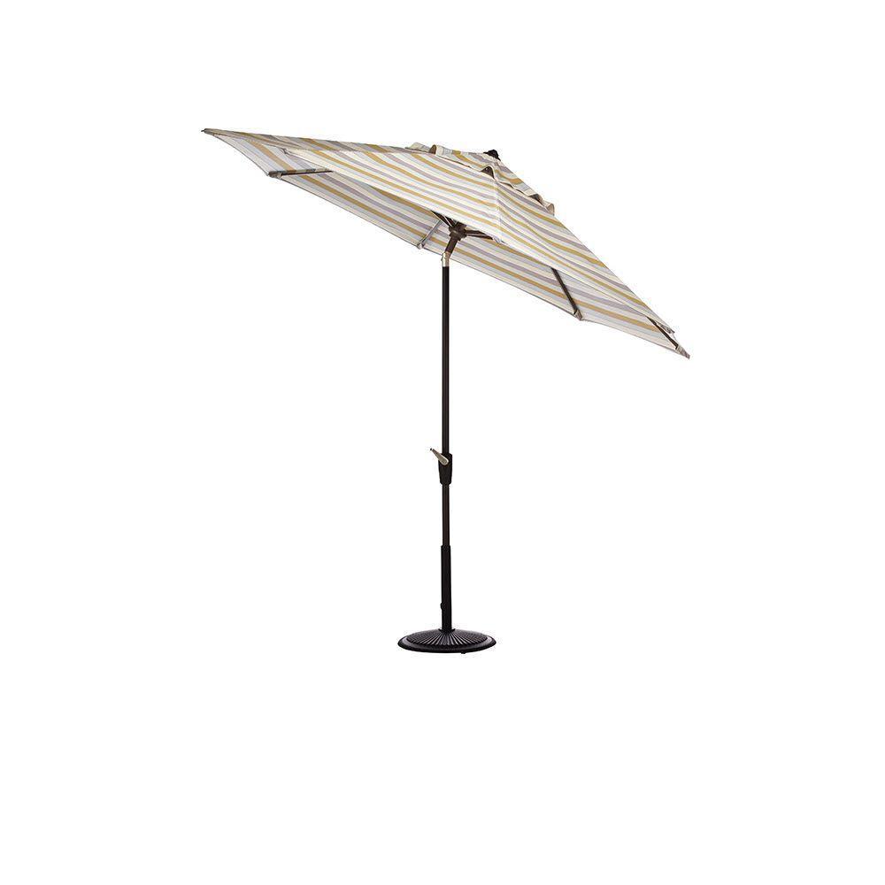 Home Decorators Collection 6.5 ft. x 10 ft. Auto-Tilt Patio Umbrella in Milano Dawn Sunbrella with Black Frame