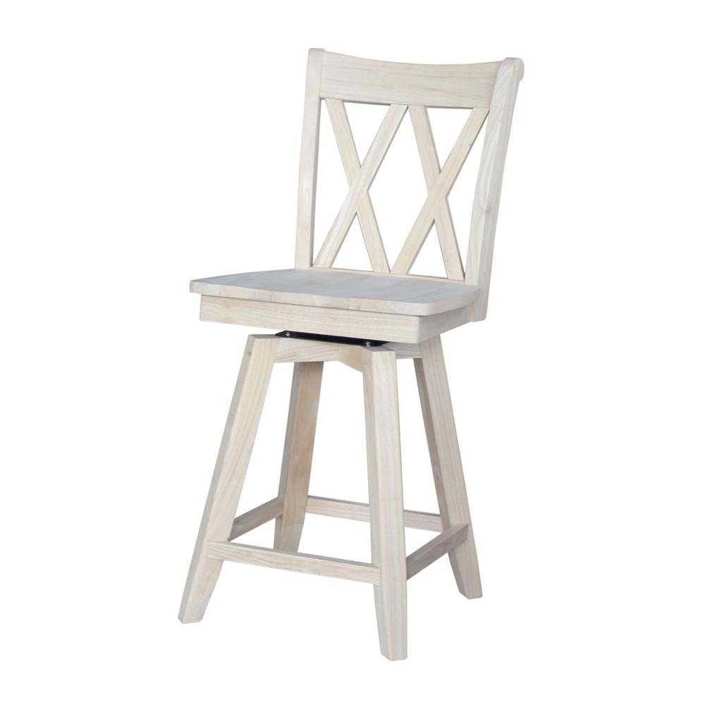 International concepts double x back 24 in unfinished wood swivel bar stool