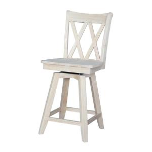 Stupendous Double X Back 24 In Unfinished Wood Swivel Bar Stool Ibusinesslaw Wood Chair Design Ideas Ibusinesslaworg
