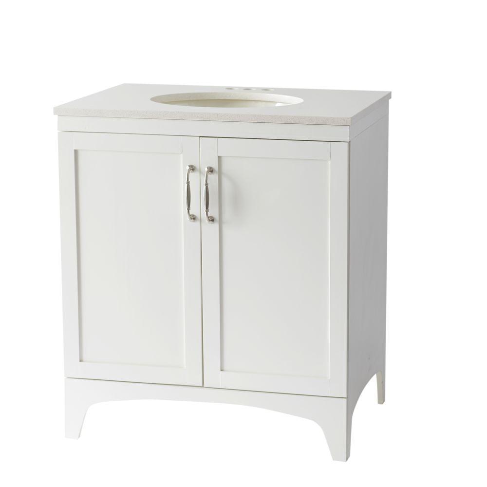 Mayworth 30 In. Vanity In Ivory With Quartz Vanity Top In White