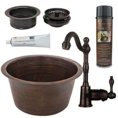 All-in-One Dual Mount Copper 17 in. 0-Hole Large Round Bar/Prep Sink in Oil Rubbed Bronze
