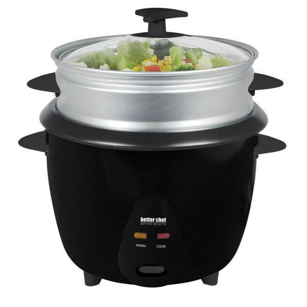 Better Chef 10-Cup Black Rice Cooker with Food Steamer Attachment