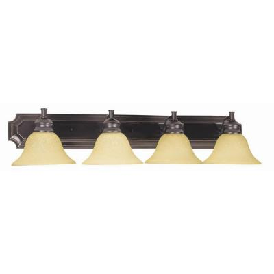 Bristol 4-Light Oil-Rubbed Bronze Vanity Light Tea Speckled Glass Shade