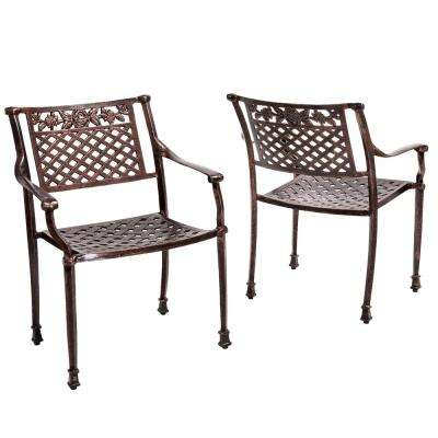 Sebastian Shiny Copper Arm Aluminum Outdoor Lounge Chair (2-Pack)