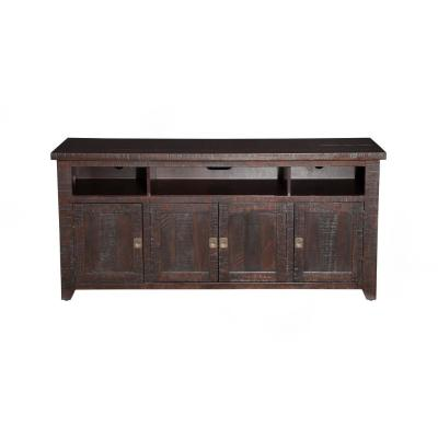 Coffee Plantation Espresso Metal TV Stand Fits Up to 70 in. with Cable Management
