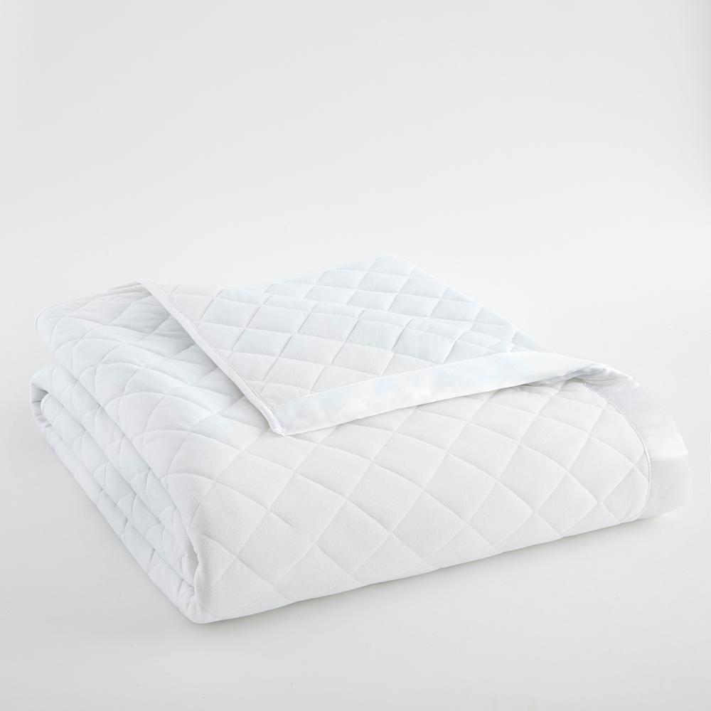 Full Queen White Quilted Polyester Blanket