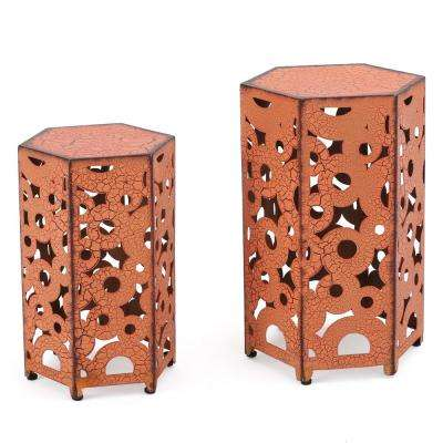 Jasiah Antique Orange Hexagonal Metal Outdoor Accent Table