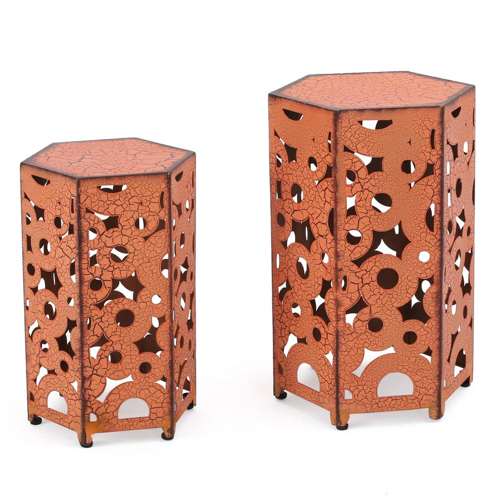 Jasiah Antique Orange Hexagonal Metal Outdoor Accent Table