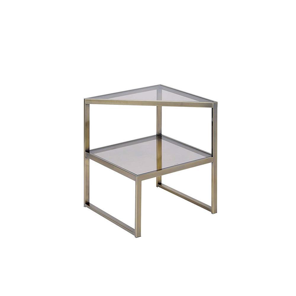 Amelia Smoky Glass Metal End Table