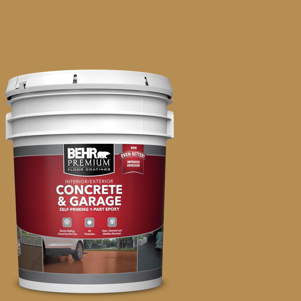 BEHR PREMIUM 5 gal. #PFC-30 Clay Terrace Self-Priming 1-Part Epoxy Satin Interior/Exterior Concrete and Garage Floor Paint