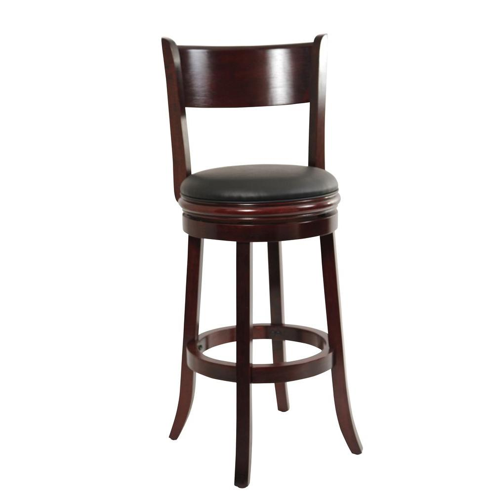 Boraam palmetto 29 in english tudor swivel cushioned bar stool 44129 the home depot Home depot wood bar stools