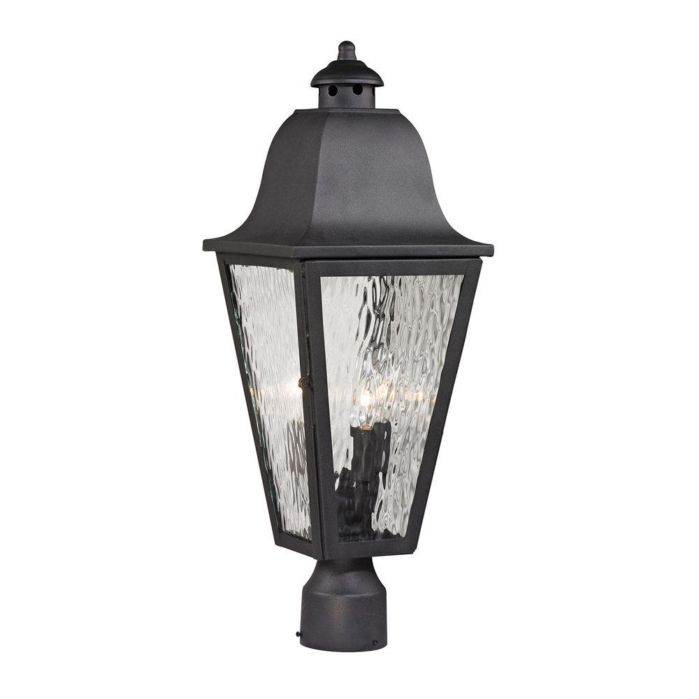 Ipswich Forge Collection3-Light Charcoal Outdoor Post Light