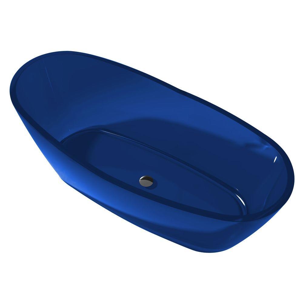 Ember 5.4 ft. Man-Made Stone Center Drain Flatbottom Non-Whirlpool Freestanding Bathtub in Regal Blue